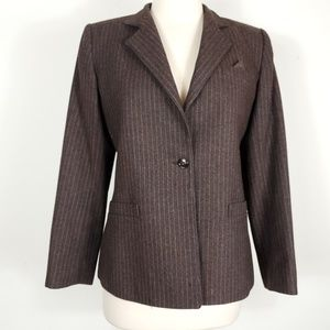 Notch collar Wool pin striped Single Button blazer
